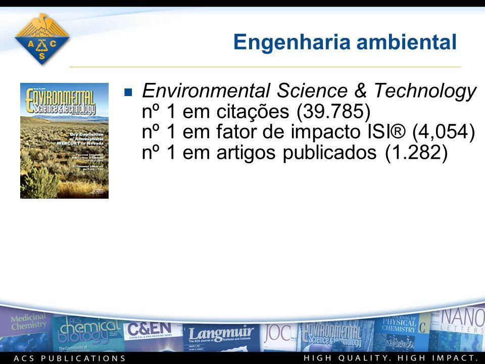 Engenharia ambiental n Environmental Science & Technology nº 1 em citações (39.785) nº 1 em fator de impacto ISI® (4,054) nº 1 em artigos publicados (