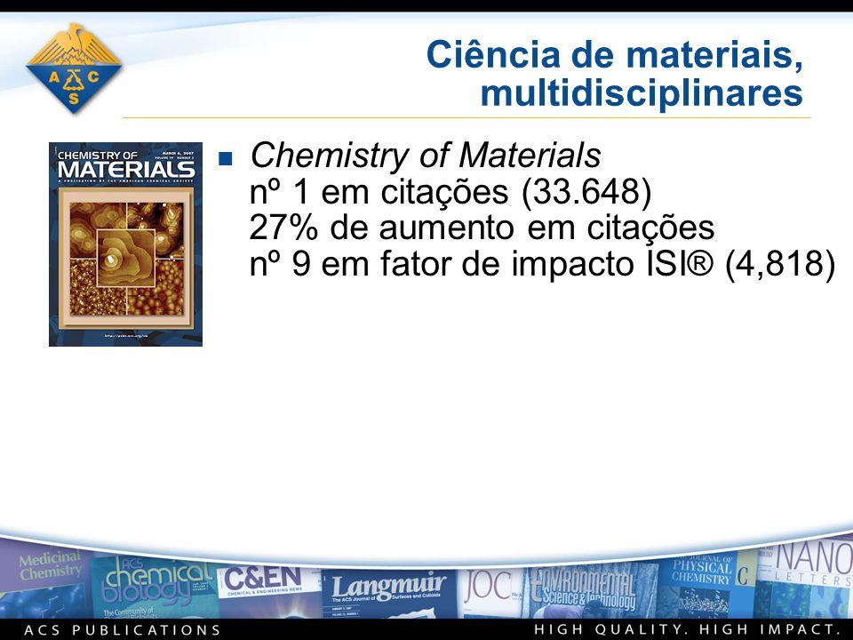 Ciência de materiais, multidisciplinares n Chemistry of Materials nº 1 em citações (33.648) 27% de aumento em citações nº 9 em fator de impacto ISI® (