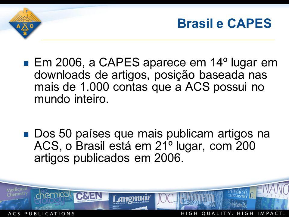 Brasil e CAPES n Em 2006, a CAPES aparece em 14º lugar em downloads de artigos, posição baseada nas mais de 1.000 contas que a ACS possui no mundo int