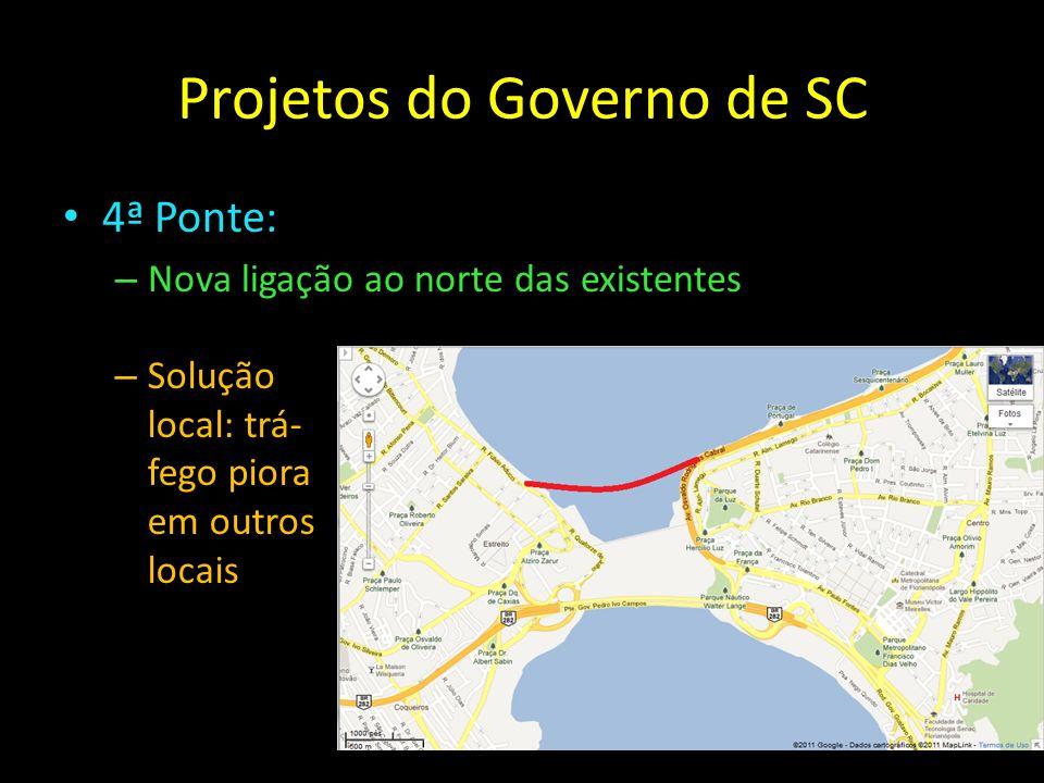Projetos do Governo de SC 4ª Ponte: – Nova ligação ao norte das existentes – Solução local: trá- fego piora em outros locais