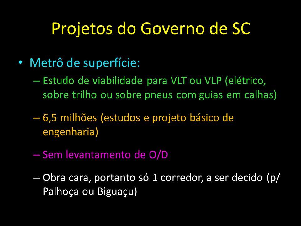 Projetos do Governo de SC Metrô de superfície: – Estudo de viabilidade para VLT ou VLP (elétrico, sobre trilho ou sobre pneus com guias em calhas) – 6