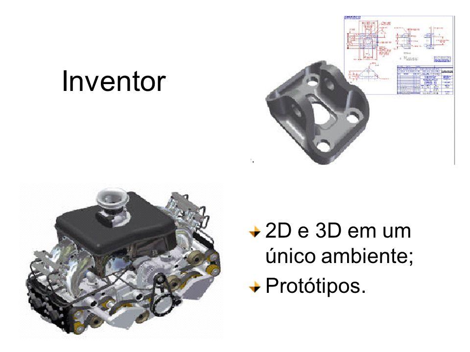 Inventor 2D e 3D em um único ambiente; Protótipos.