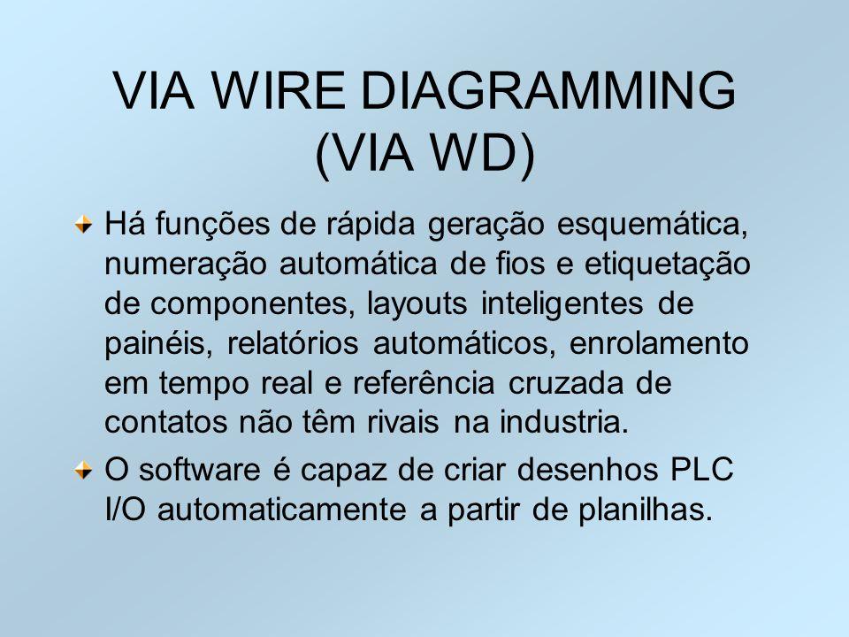 VIA WIRE DIAGRAMMING (VIA WD) Há funções de rápida geração esquemática, numeração automática de fios e etiquetação de componentes, layouts inteligente