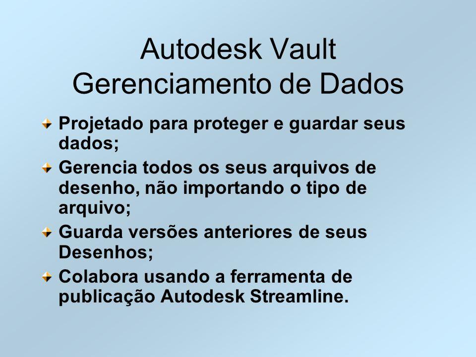 Autodesk Vault Gerenciamento de Dados Projetado para proteger e guardar seus dados; Gerencia todos os seus arquivos de desenho, não importando o tipo