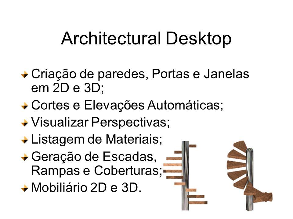 Architectural Desktop Criação de paredes, Portas e Janelas em 2D e 3D; Cortes e Elevações Automáticas; Visualizar Perspectivas; Listagem de Materiais;