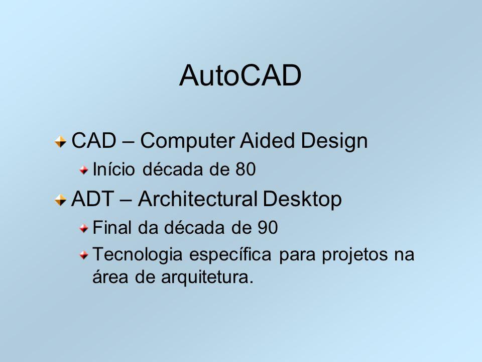 AutoCAD CAD – Computer Aided Design Início década de 80 ADT – Architectural Desktop Final da década de 90 Tecnologia específica para projetos na área