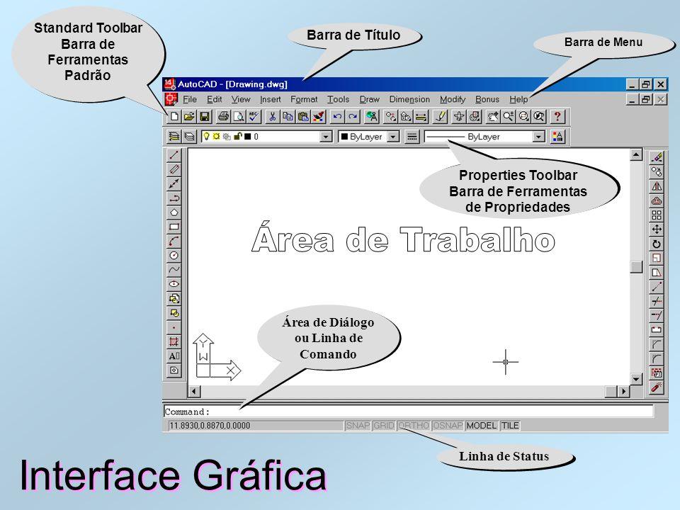 Área de Trabalho do AutoCAD Interface Gráfica Origem (0,0,0) Área de Diálogo ou Linha de Comando Linha de Status Barra de Título Barra de Menu Standar