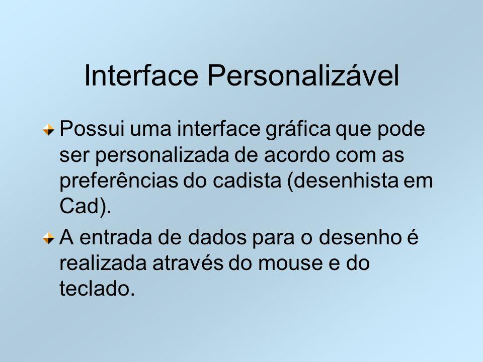 Interface Personalizável Possui uma interface gráfica que pode ser personalizada de acordo com as preferências do cadista (desenhista em Cad). A entra
