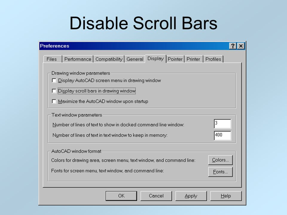 Disable Scroll Bars