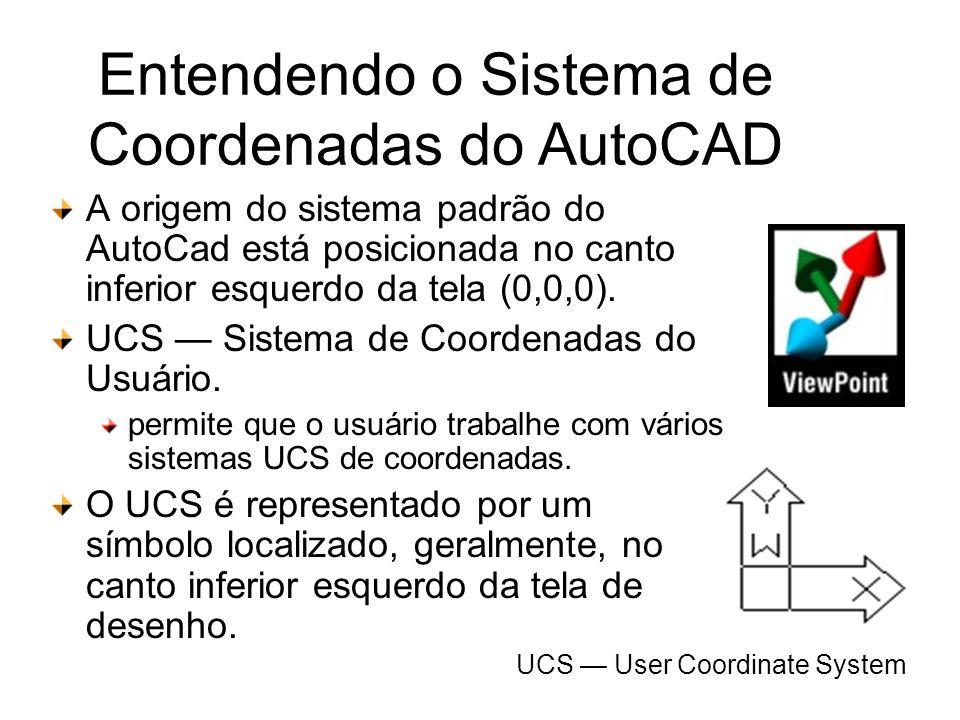 Entendendo o Sistema de Coordenadas do AutoCAD A origem do sistema padrão do AutoCad está posicionada no canto inferior esquerdo da tela (0,0,0). UCS
