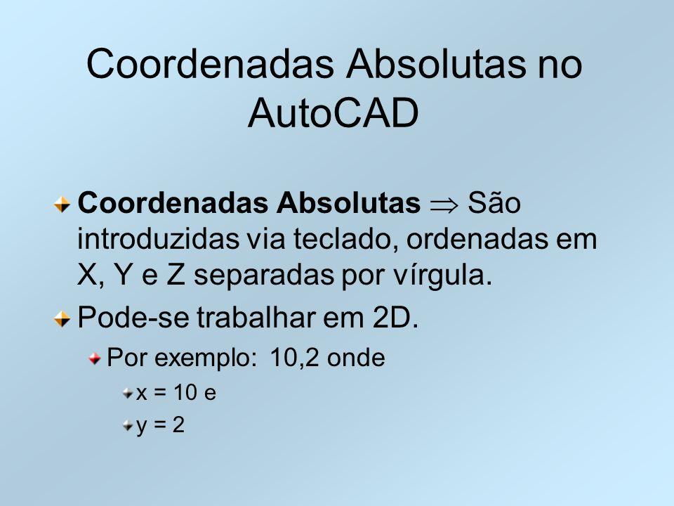 Coordenadas Absolutas no AutoCAD Coordenadas Absolutas São introduzidas via teclado, ordenadas em X, Y e Z separadas por vírgula. Pode-se trabalhar em