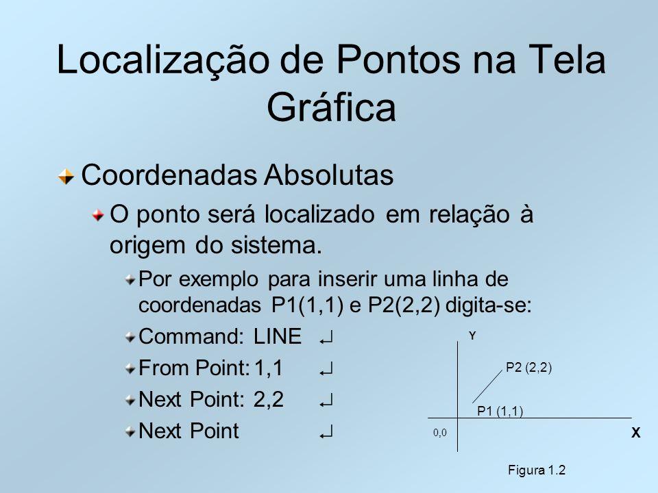 Localização de Pontos na Tela Gráfica Coordenadas Absolutas O ponto será localizado em relação à origem do sistema. Por exemplo para inserir uma linha