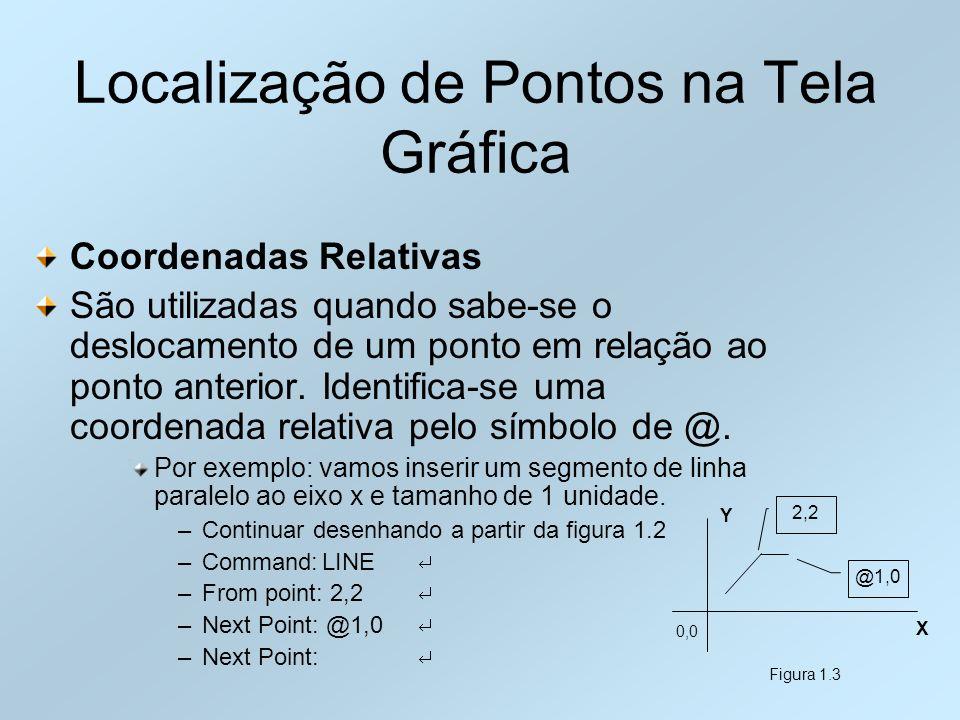 Localização de Pontos na Tela Gráfica Coordenadas Relativas São utilizadas quando sabe-se o deslocamento de um ponto em relação ao ponto anterior. Ide