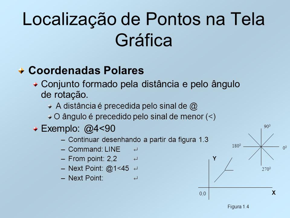 Localização de Pontos na Tela Gráfica Coordenadas Polares Conjunto formado pela distância e pelo ângulo de rotação. A distância é precedida pelo sinal