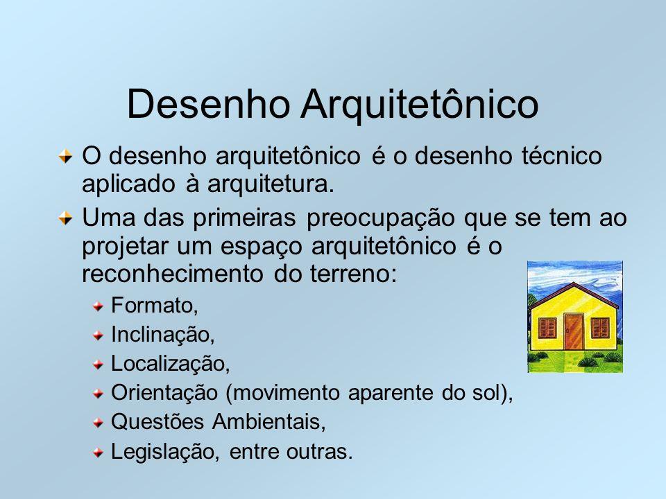 Desenho Arquitetônico O desenho arquitetônico é o desenho técnico aplicado à arquitetura. Uma das primeiras preocupação que se tem ao projetar um espa