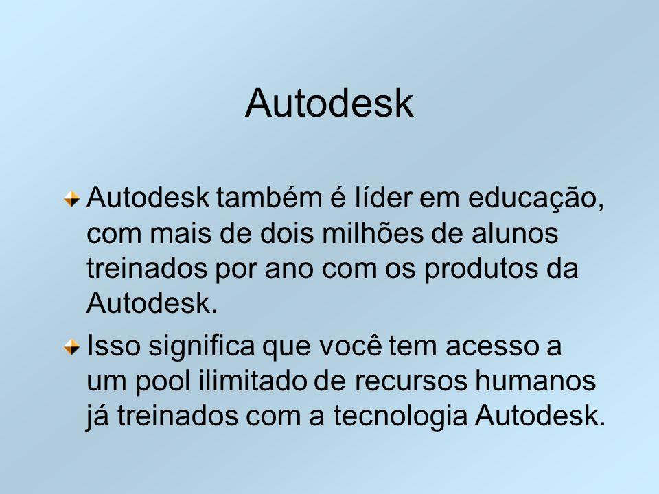 Autodesk Autodesk também é líder em educação, com mais de dois milhões de alunos treinados por ano com os produtos da Autodesk. Isso significa que voc