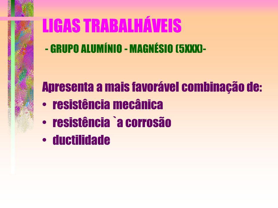 LIGAS TRABALHÁVEIS - GRUPO ALUMÍNIO - MAGNÉSIO (5XXX)- Apresenta a mais favorável combinação de: resistência mecânica resistência `a corrosão ductilid