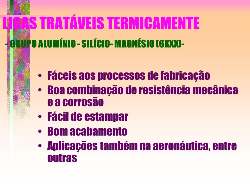 LIGAS TRATÁVEIS TERMICAMENTE - GRUPO ALUMÍNIO - SILÍCIO- MAGNÉSIO (6XXX)- Fáceis aos processos de fabricação Boa combinação de resistência mecânica e