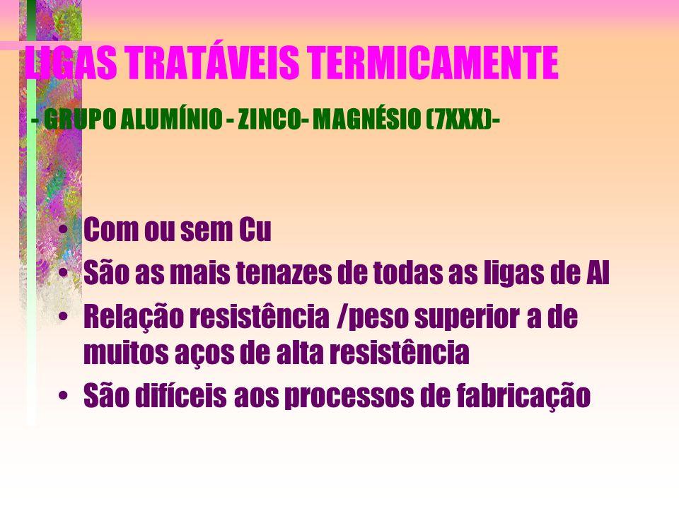 LIGAS TRATÁVEIS TERMICAMENTE - GRUPO ALUMÍNIO - ZINCO- MAGNÉSIO (7XXX)- Com ou sem Cu São as mais tenazes de todas as ligas de Al Relação resistência