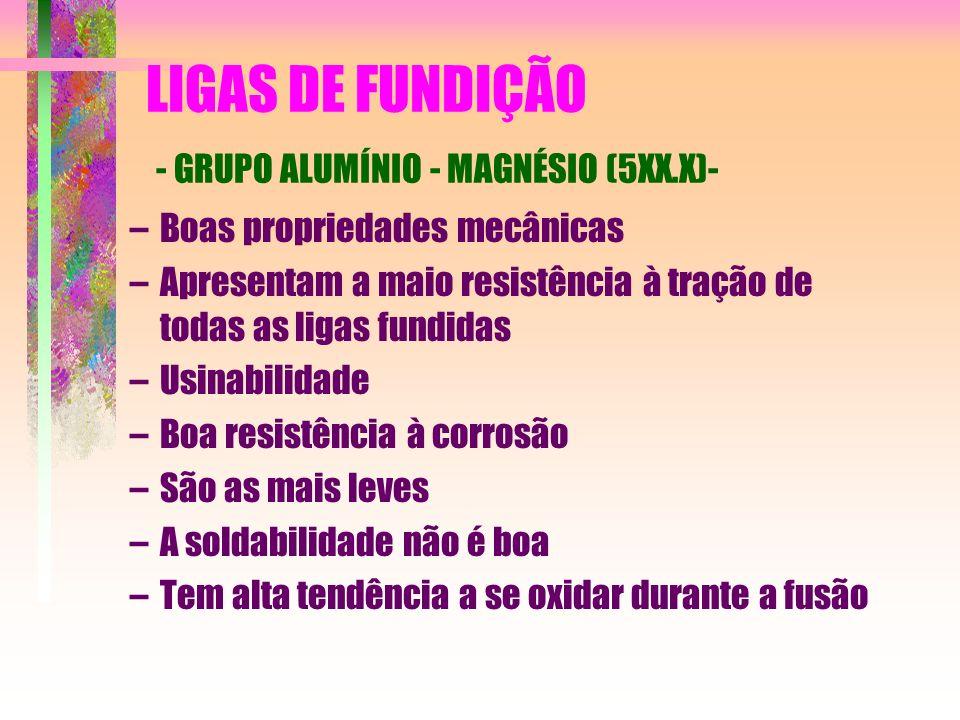 LIGAS DE FUNDIÇÃO - GRUPO ALUMÍNIO - MAGNÉSIO (5XX.X)- –Boas propriedades mecânicas –Apresentam a maio resistência à tração de todas as ligas fundidas
