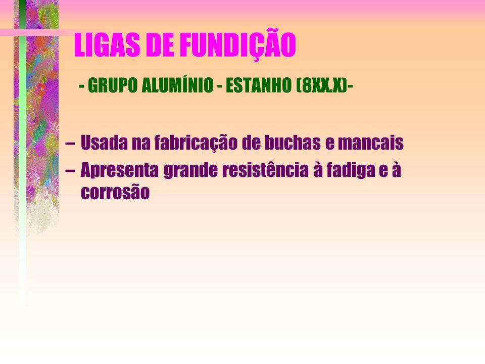 LIGAS DE FUNDIÇÃO - GRUPO ALUMÍNIO - ESTANHO (8XX.X)- –Usada na fabricação de buchas e mancais –Apresenta grande resistência à fadiga e à corrosão