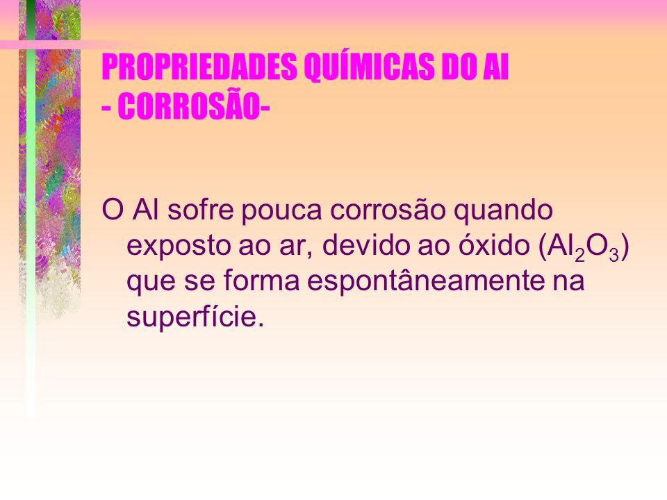 PROPRIEDADES QUÍMICAS DO Al - CORROSÃO- O Al sofre pouca corrosão quando exposto ao ar, devido ao óxido (Al 2 O 3 ) que se forma espontâneamente na su