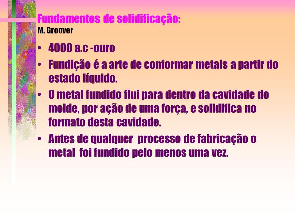 Fundamentos de solidificação: M. Groover 4000 a.c -ouro Fundição é a arte de conformar metais a partir do estado líquido. O metal fundido flui para de
