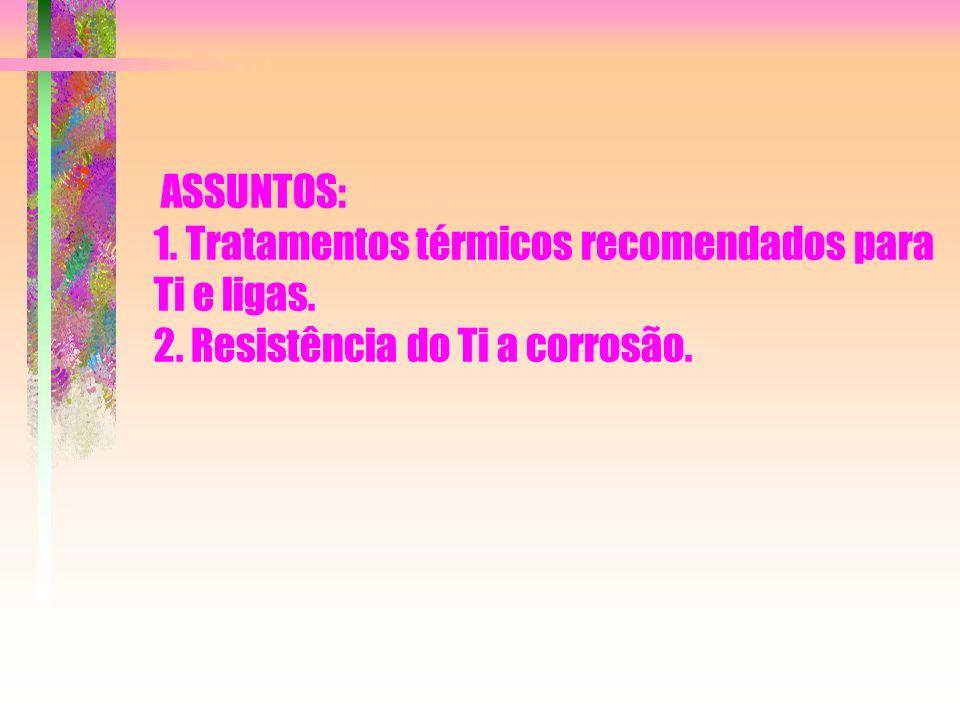 ASSUNTOS: 1. Tratamentos térmicos recomendados para Ti e ligas. 2. Resistência do Ti a corrosão.