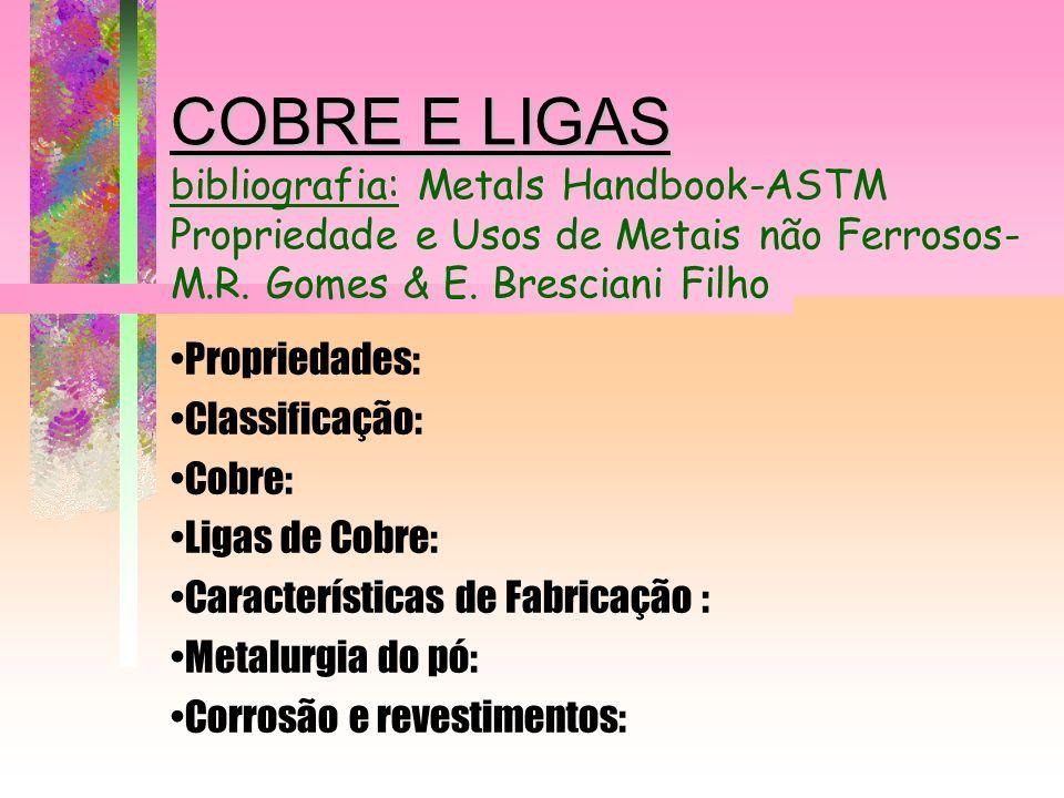 COBRE E LIGAS COBRE E LIGAS bibliografia: Metals Handbook-ASTM Propriedade e Usos de Metais não Ferrosos- M.R. Gomes & E. Bresciani Filho Propriedades