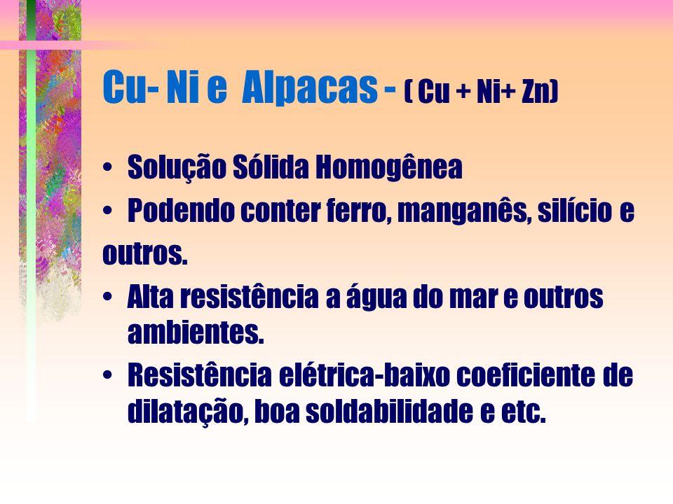 Cu- Ni e Alpacas - ( Cu + Ni+ Zn) Solução Sólida Homogênea Podendo conter ferro, manganês, silício e outros. Alta resistência a água do mar e outros a