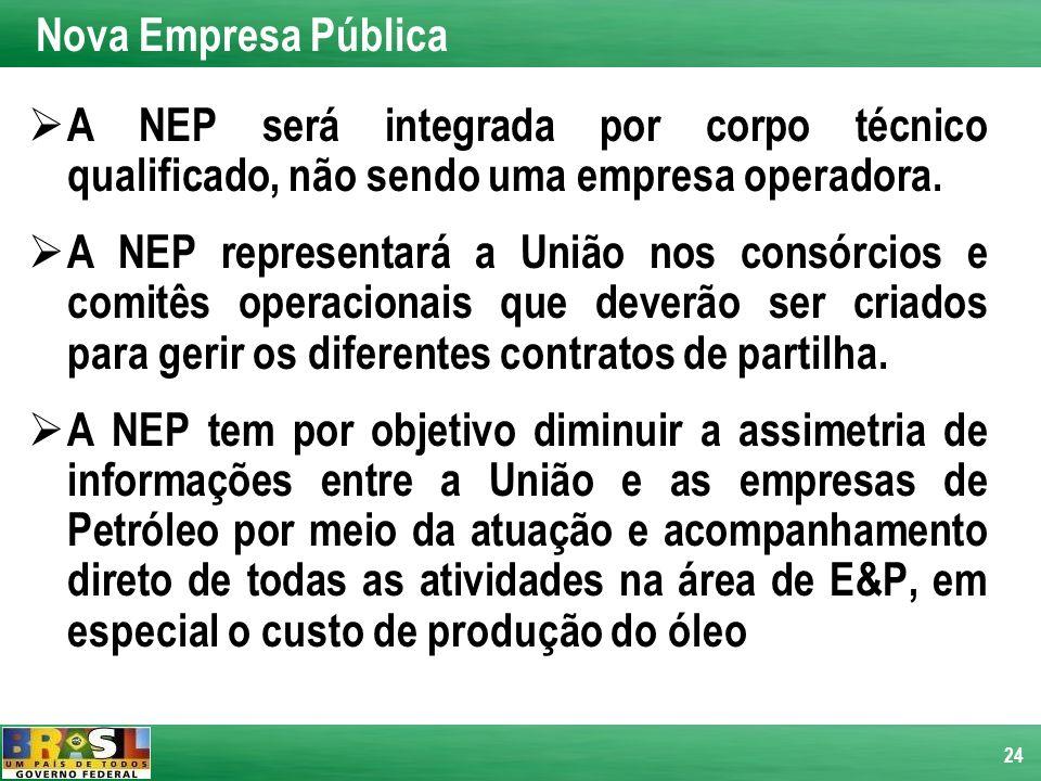 24 A NEP será integrada por corpo técnico qualificado, não sendo uma empresa operadora. A NEP representará a União nos consórcios e comitês operaciona