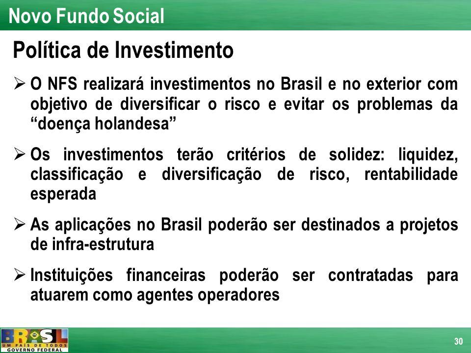 30 Política de Investimento O NFS realizará investimentos no Brasil e no exterior com objetivo de diversificar o risco e evitar os problemas da doença