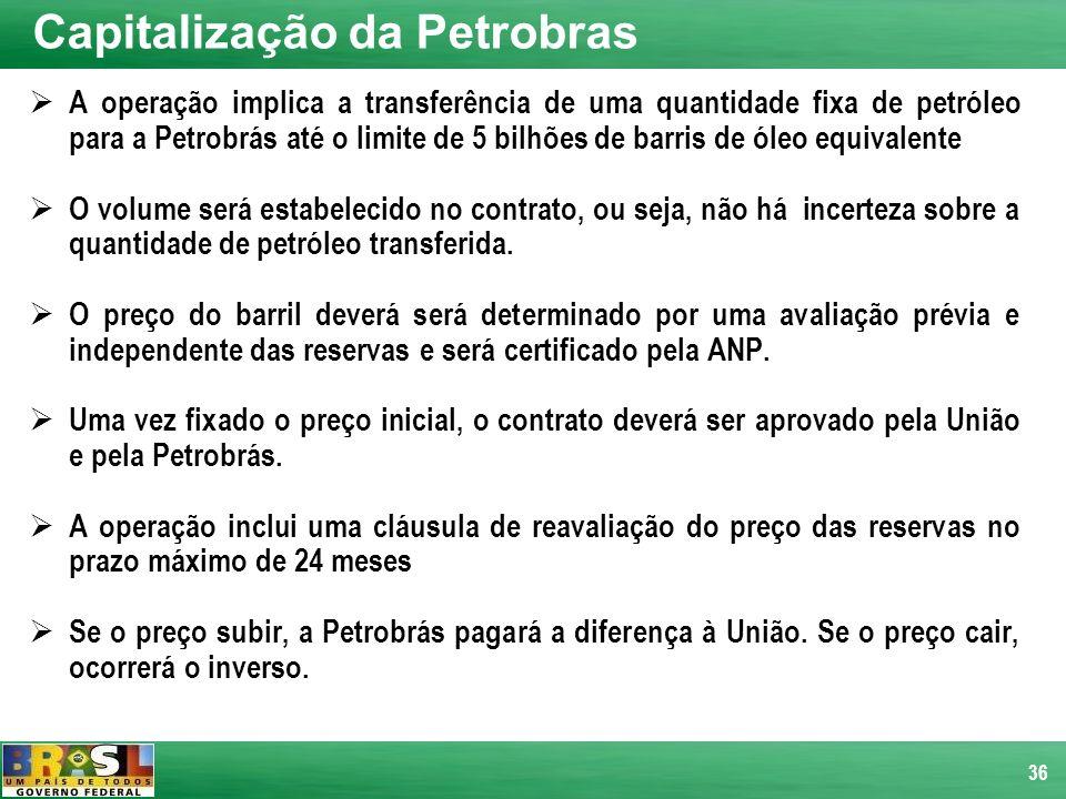 36 A operação implica a transferência de uma quantidade fixa de petróleo para a Petrobrás até o limite de 5 bilhões de barris de óleo equivalente O vo