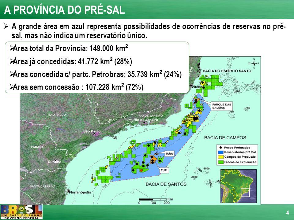 4 A PROVÍNCIA DO PRÉ-SAL Área total da Província: 149.000 km ² Área já concedidas: 41.772 km ² (28%) Área concedida c/ partc. Petrobras: 35.739 km ² (