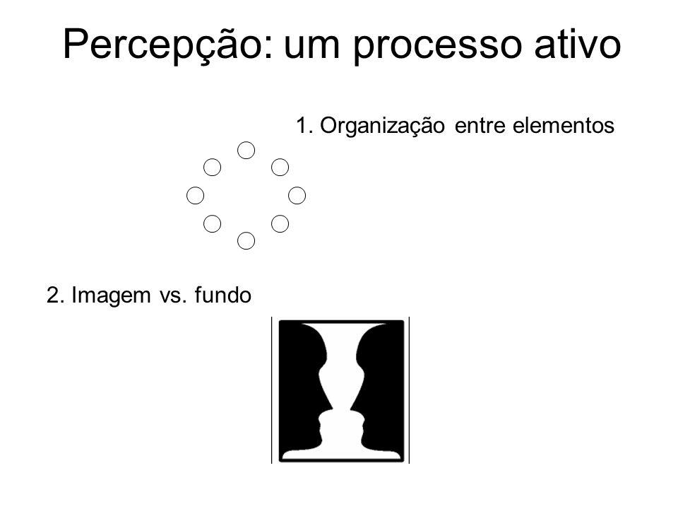 Percepção: um processo ativo 1. Organização entre elementos 2. Imagem vs. fundo