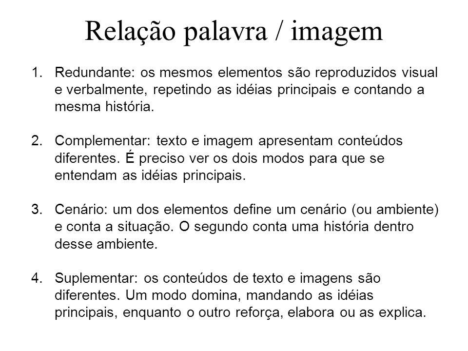 Relação palavra / imagem 1.Redundante: os mesmos elementos são reproduzidos visual e verbalmente, repetindo as idéias principais e contando a mesma hi