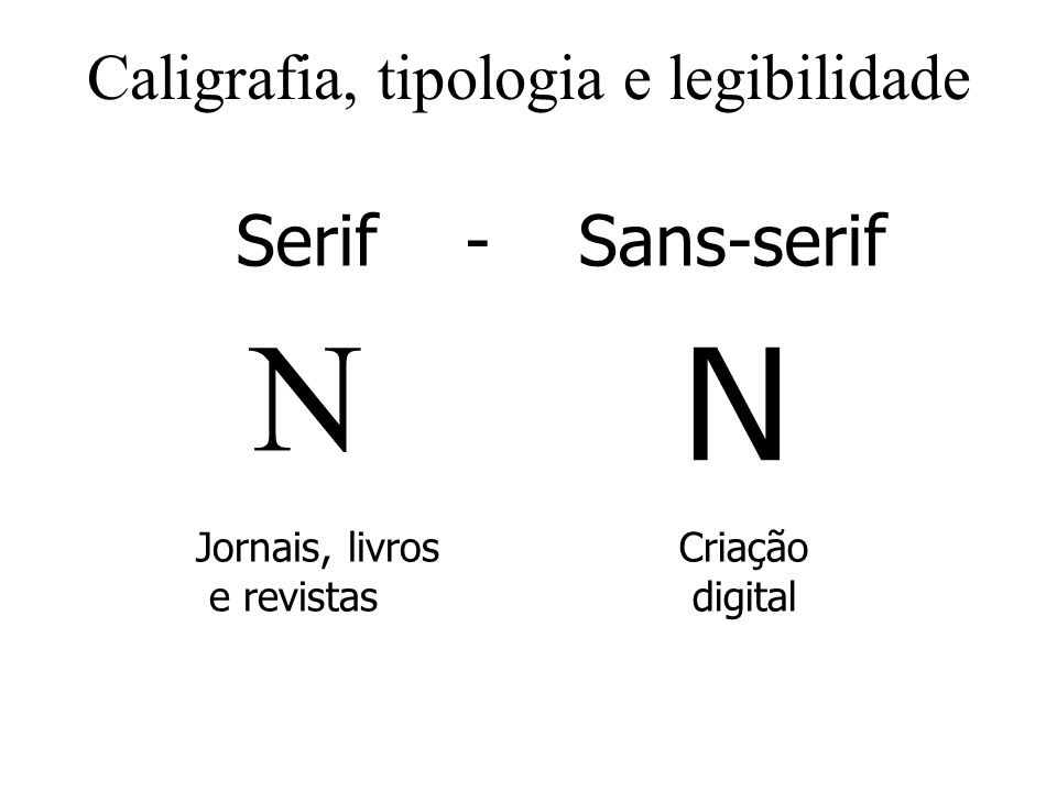Caligrafia, tipologia e legibilidade Serif - Sans-serif N N Jornais, livros e revistas Criação digital