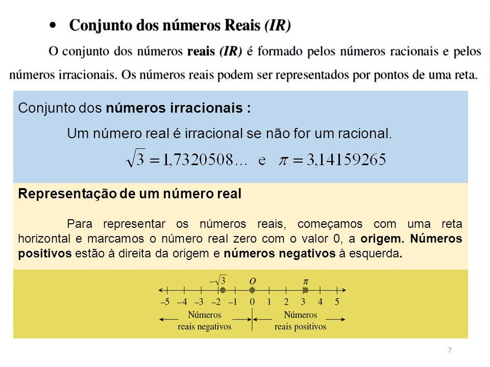 7 Conjunto dos números irracionais : Um número real é irracional se não for um racional. Representação de um número real Para representar os números r