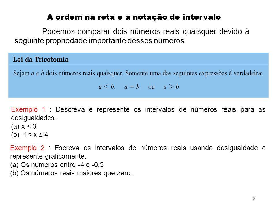 8 A ordem na reta e a notação de intervalo Podemos comparar dois números reais quaisquer devido à seguinte propriedade importante desses números. Pré-