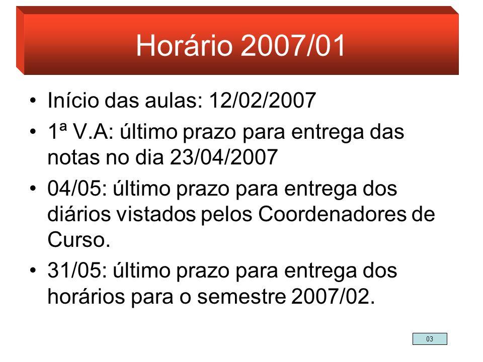 Horário 2007/01 Início das aulas: 12/02/2007 1ª V.A: último prazo para entrega das notas no dia 23/04/2007 04/05: último prazo para entrega dos diário