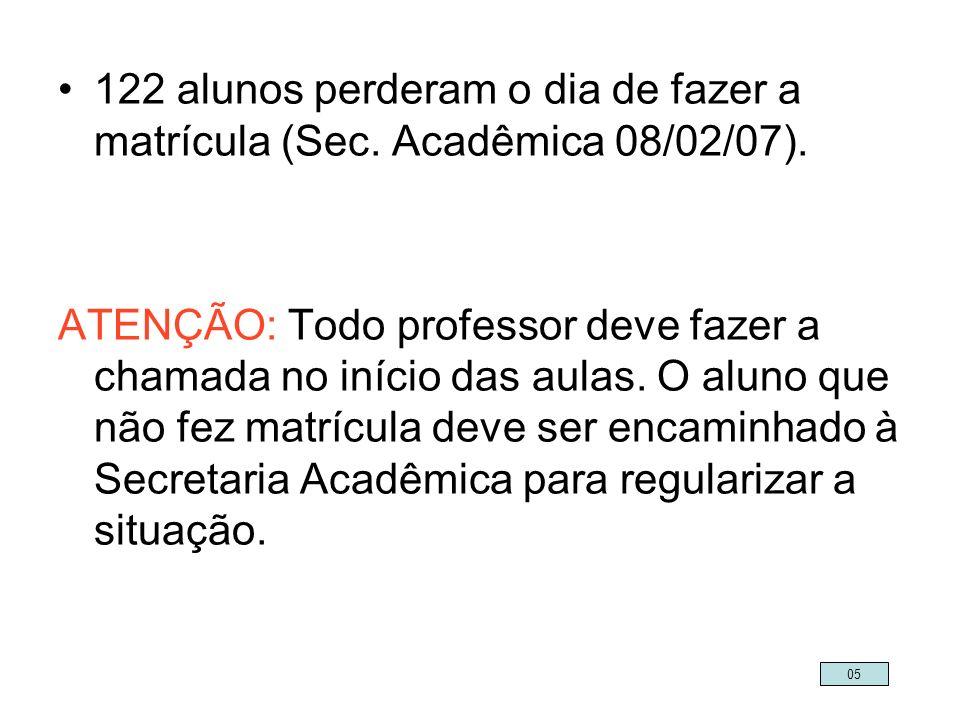 122 alunos perderam o dia de fazer a matrícula (Sec. Acadêmica 08/02/07). ATENÇÃO: Todo professor deve fazer a chamada no início das aulas. O aluno qu