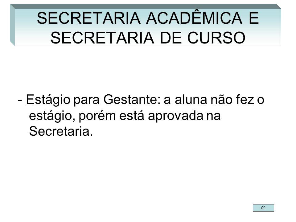 - Estágio para Gestante: a aluna não fez o estágio, porém está aprovada na Secretaria. SECRETARIA ACADÊMICA E SECRETARIA DE CURSO 09