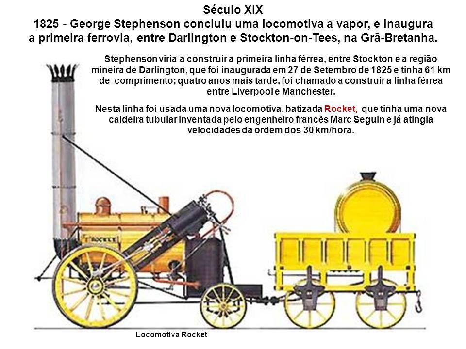 Gravura da locomotiva a vapor Blüche No entanto, o passo de gigante para o desenvolvimento da locomotiva e por conseqüência do comboio, seria dado por George Stephenson.