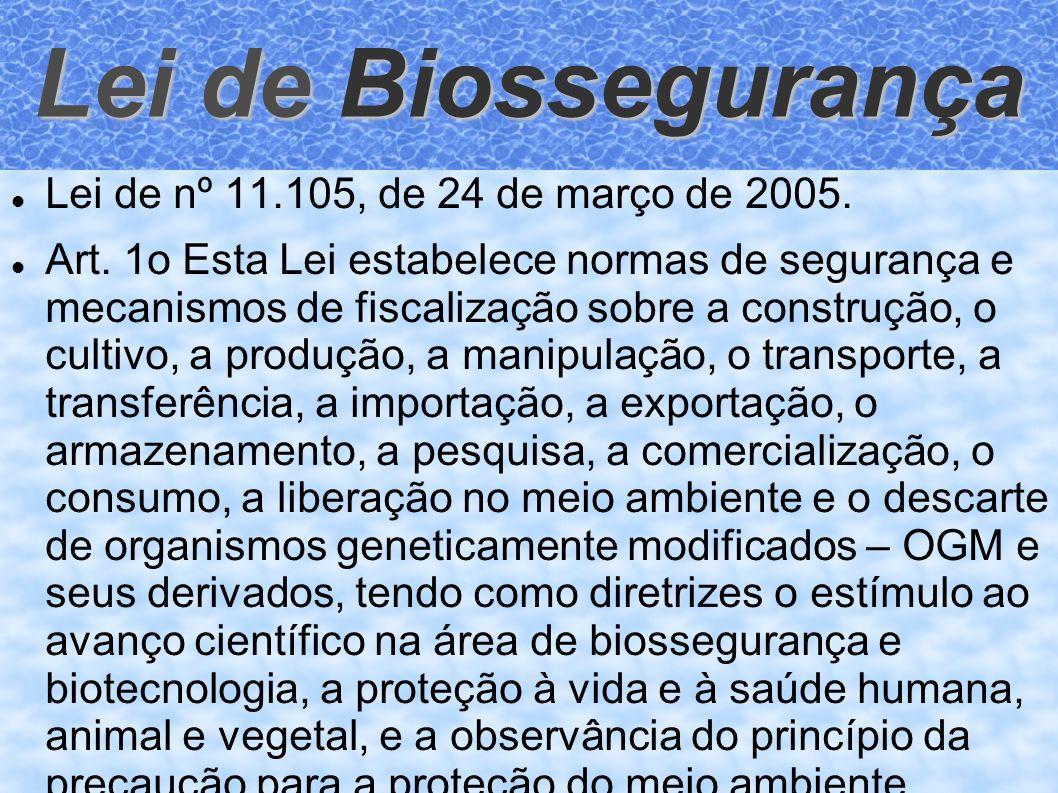 Lei de Biossegurança Lei de nº 11.105, de 24 de março de 2005. Art. 1o Esta Lei estabelece normas de segurança e mecanismos de fiscalização sobre a co