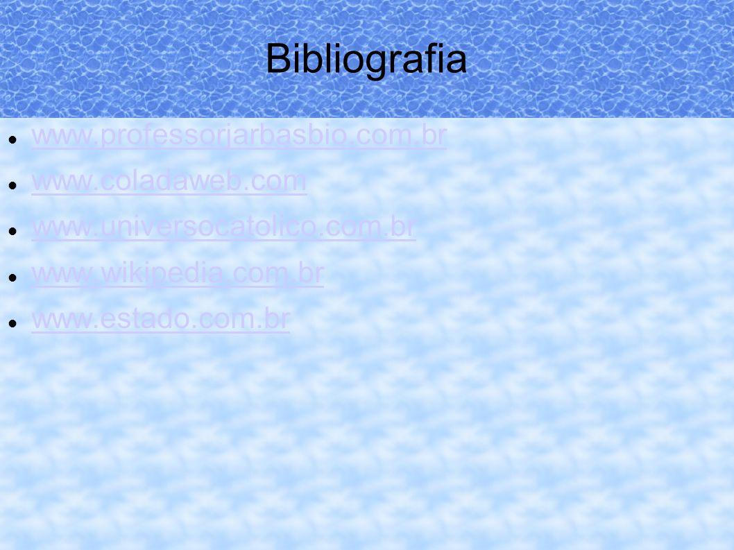Bibliografia www.professorjarbasbio.com.br www.coladaweb.com www.universocatolico.com.br www.wikipedia.com.br www.estado.com.br