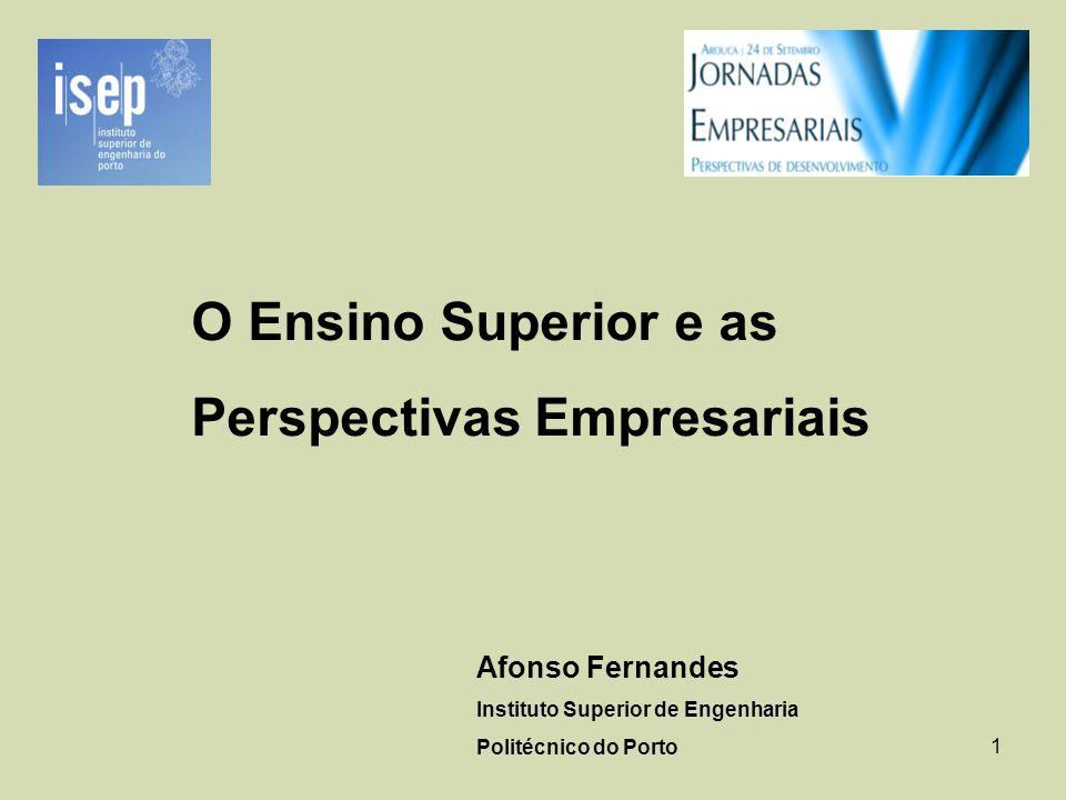 1 O Ensino Superior e as Perspectivas Empresariais Afonso Fernandes Instituto Superior de Engenharia Politécnico do Porto