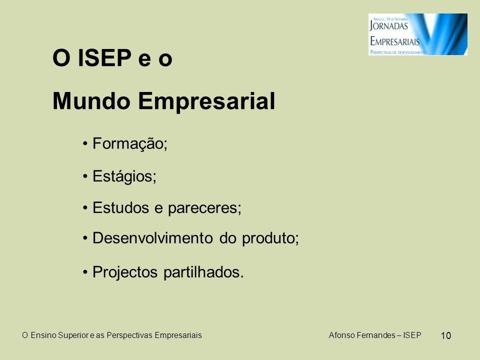 10 O ISEP e o Mundo Empresarial O Ensino Superior e as Perspectivas Empresariais Afonso Fernandes – ISEP Formação; Estágios; Desenvolvimento do produto; Estudos e pareceres; Projectos partilhados.