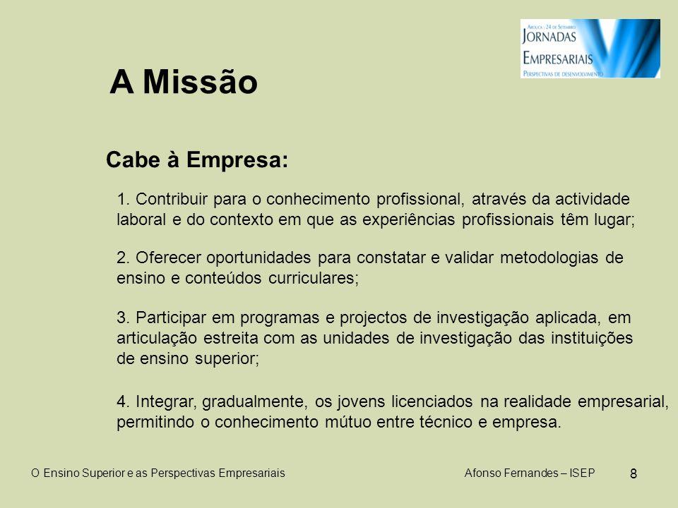 8 A Missão Cabe à Empresa: O Ensino Superior e as Perspectivas Empresariais Afonso Fernandes – ISEP 1.