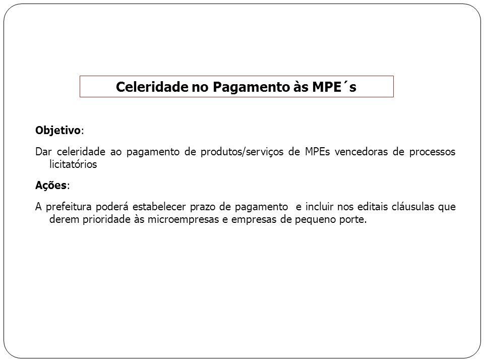 Objetivo: Dar celeridade ao pagamento de produtos/serviços de MPEs vencedoras de processos licitatórios Ações: A prefeitura poderá estabelecer prazo d