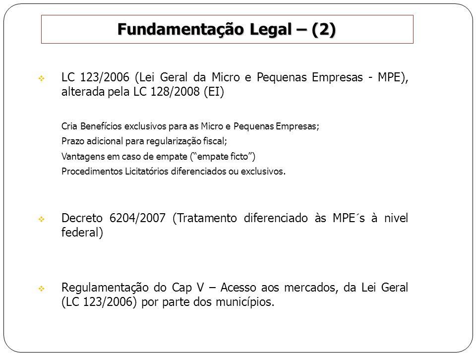 Fundamentação Legal – (2) LC 123/2006 (Lei Geral da Micro e Pequenas Empresas - MPE), alterada pela LC 128/2008 (EI) Cria Benefícios exclusivos para a